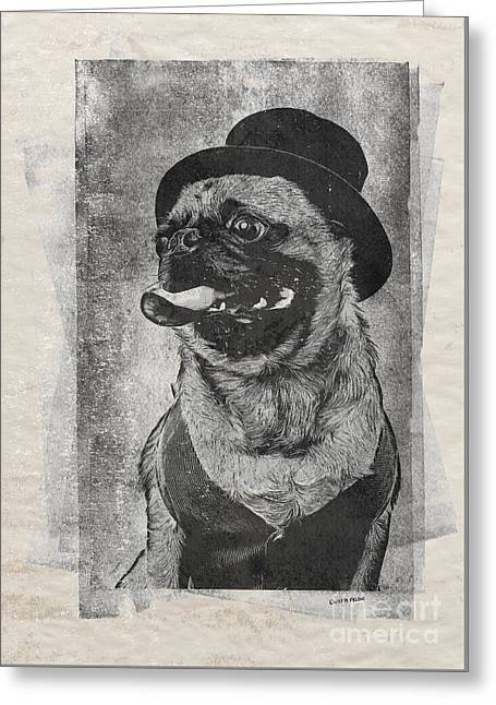Canines Mixed Media Greeting Cards - Inky Pug Greeting Card by Edward Fielding