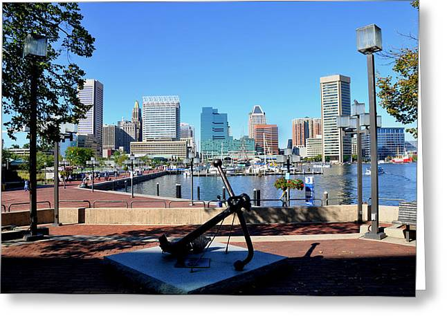 Rack Greeting Cards - Inner Harbor Anchor Greeting Card by Andrew Dinh