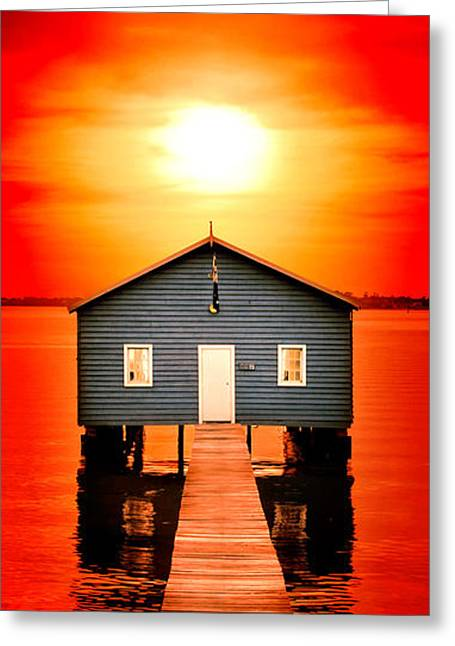 Shed Greeting Cards - Blood Sunset Panorama Greeting Card by Az Jackson