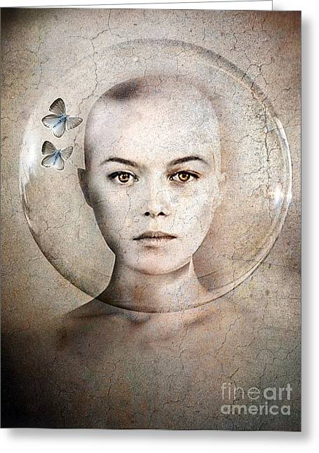 Surrealism Mixed Media Greeting Cards - Inner World Greeting Card by Photodream Art