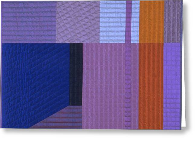 Abstract Quilt Tapestries - Textiles Greeting Cards - Innerspace 10 Greeting Card by Marilyn Henrion