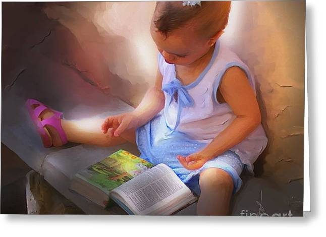 Kids Books Mixed Media Greeting Cards - Innocence And The Bible - Cuba Greeting Card by Bob Salo