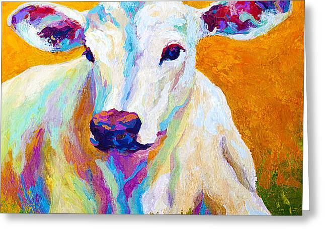 Cow Paintings Greeting Cards - Innocence Greeting Card by Marion Rose