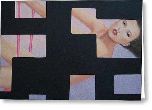 Surreal Geometric Greeting Cards - Innocent Flirtation Greeting Card by Lynet McDonald