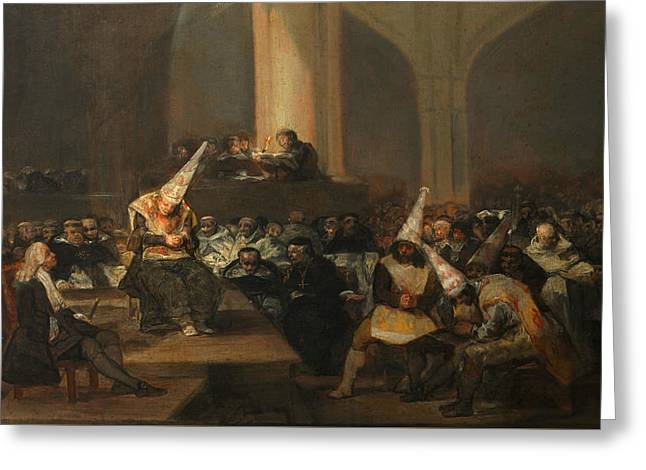 Inquisition Scene Greeting Card by Francisco Goya