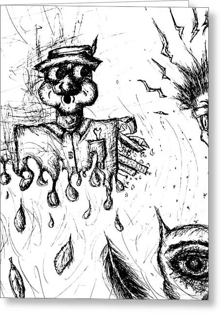 Drip Drawings Greeting Cards - Insanity Greeting Card by Jera Sky