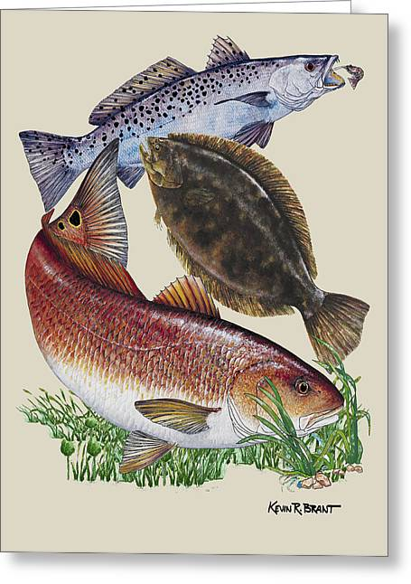 Flounder Greeting Cards - Inshore Slam N Greeting Card by Kevin Brant