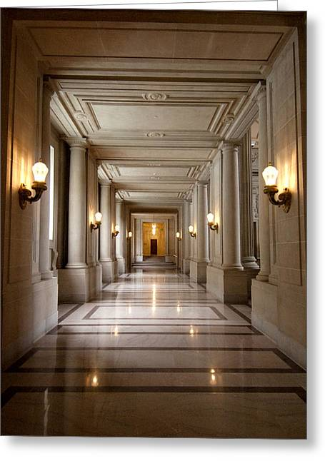 City Hall Greeting Cards - Inside Government Greeting Card by Greg Fortier