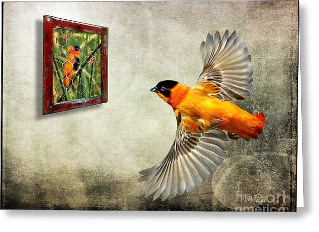 Inside Out. Red Bishop Greeting Card by Jennie Breeze