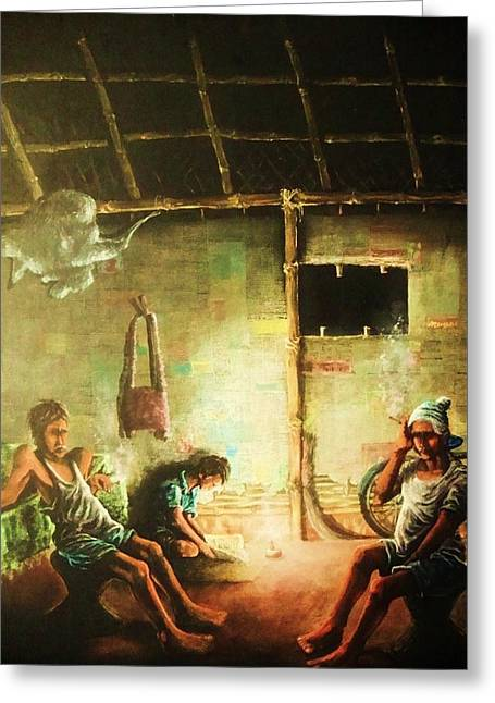 Pralhad Gurung Greeting Cards - Inside Refugee Hut Greeting Card by Pralhad Gurung