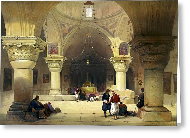 Inside The Church Of The Holy Sepulchre In Jerusalem Greeting Card by Munir Alawi