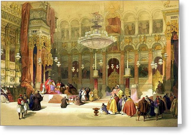 Recently Sold -  - The Church Greeting Cards - Inside the Church of the Holy Sepulchre Greeting Card by Munir Alawi