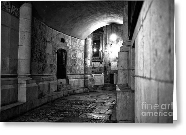 Calvary Greeting Cards - Inside the Holy Sepulchre Greeting Card by John Rizzuto