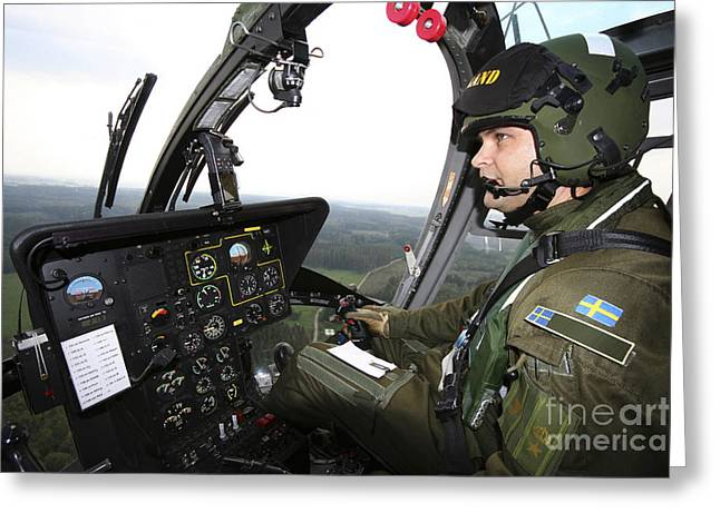 Headset Greeting Cards - Inside The Mbb Bo 105 Helicopter Greeting Card by Daniel Karlsson