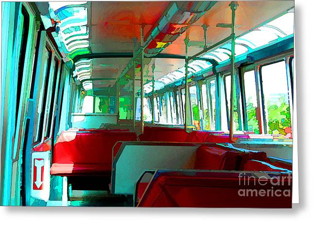 Monorail Greeting Cards - Inside the Monorail Greeting Card by Noel Zia Lee