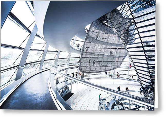 Wide Angled Glass Mirror Greeting Cards - Inside the Reichstag Dome Greeting Card by JR Photography