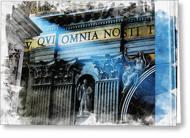 Italy Greeting Cards - Inside the Vatican Greeting Card by Nostalgic Art