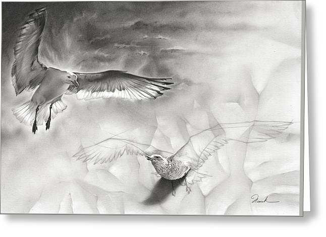 Flying Seagull Greeting Cards - Inspiration Greeting Card by Henrik Moses