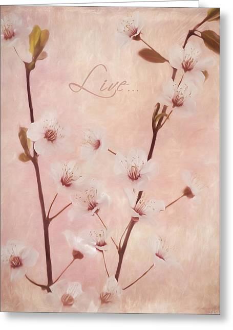 Stamen Digital Art Greeting Cards - Inspirational Art - Live In The Moment Greeting Card by Jordan Blackstone