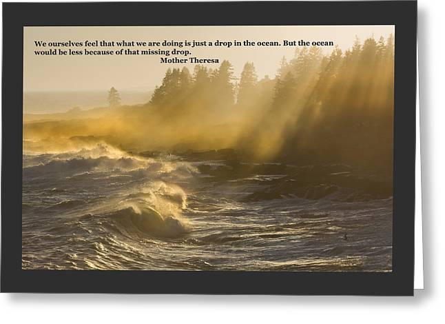 Rocks Greeting Cards - Inspirational Mother Theresa Quote Waves Lightbeams On The Coast Greeting Card by Keith Webber Jr