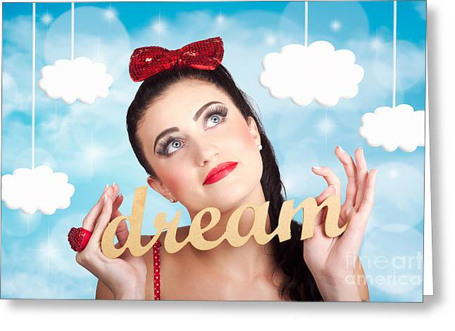 Pin-up Model Greeting Cards - Inspire to create. Pinup your dreams to the sky Greeting Card by Ryan Jorgensen