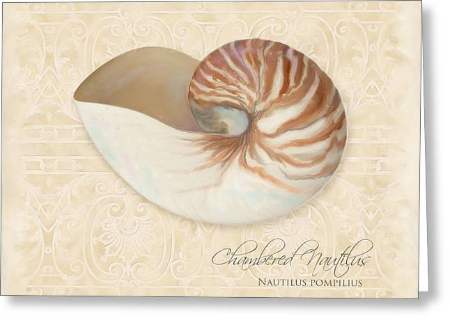 Inspired Coast Iv - Chambered Nautilus, Nautilus Pompilius Greeting Card by Audrey Jeanne Roberts