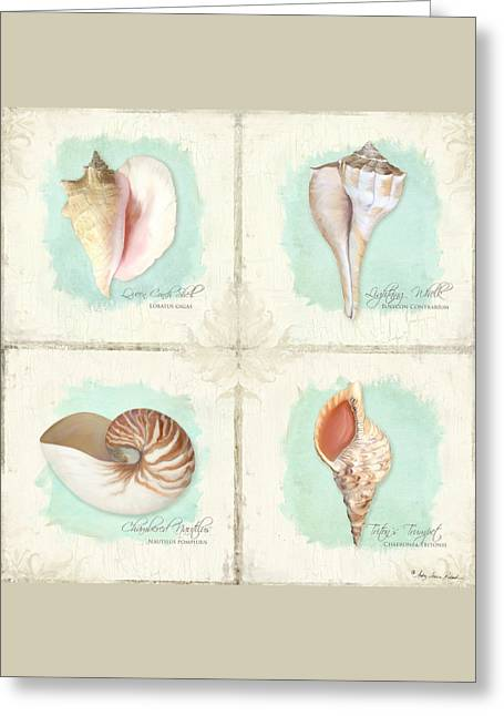 Inspired Coast Quartet - Seashells On Crackle Texture Board Greeting Card by Audrey Jeanne Roberts