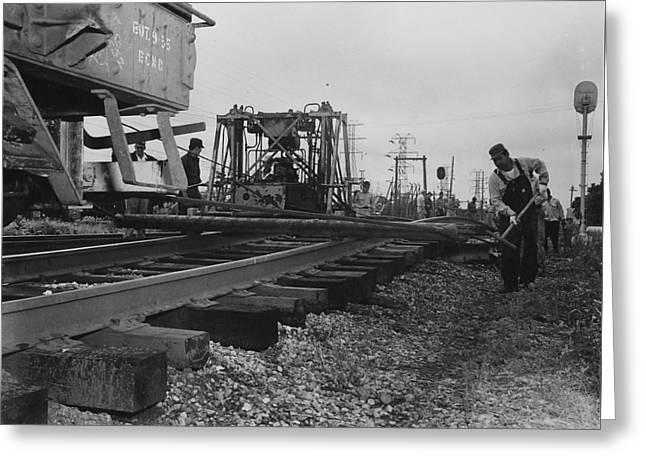 """""""work Crew"""" Greeting Cards - Laborers Work on Track - 1957 Greeting Card by Chicago and North Western Historical Society"""