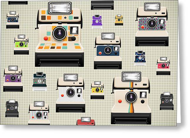 Analog Digital Art Greeting Cards - Instant Camera Pattern Greeting Card by Setsiri Silapasuwanchai