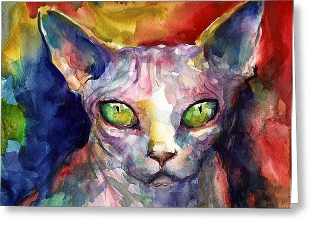 Cute Kitten Greeting Cards - intense watercolor Sphinx cat painting Greeting Card by Svetlana Novikova