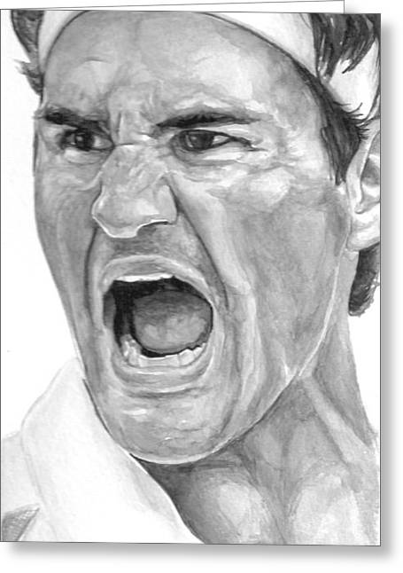 Us Open Greeting Cards - Intensity Federer Greeting Card by Tamir Barkan