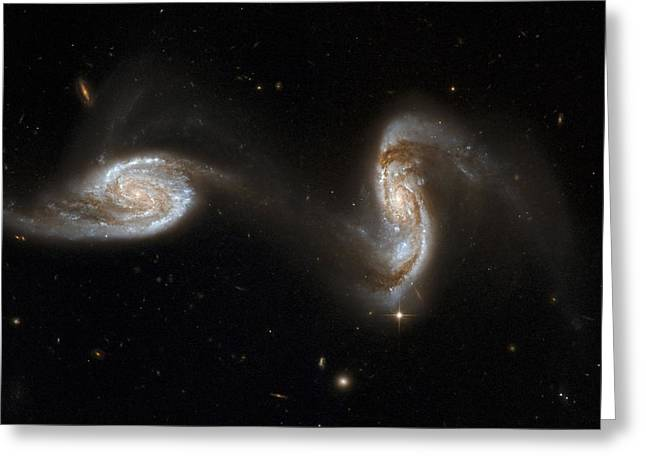 Recently Sold -  - Merging Greeting Cards - Interacting Galaxies Ngc 5257 And 5258 Greeting Card by Stsciaurahubble Collaborationa. Evans (university Of Virginia, Charlottesville;nrao;stony Brook University)nasa