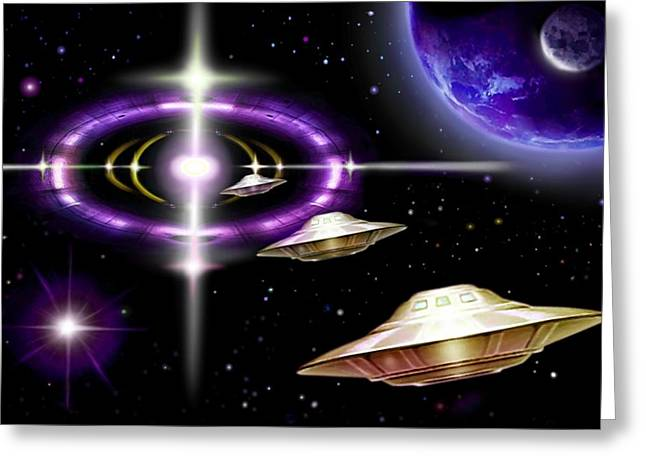 Starship Paintings Greeting Cards - Interdimensional  Gate-way Greeting Card by Hartmut Jager
