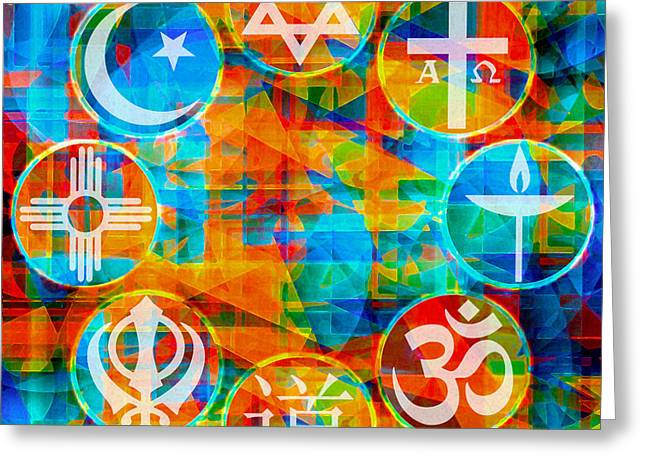 Church Synagogue Greeting Cards - Interfaith 1 Greeting Card by Dyana  Jean