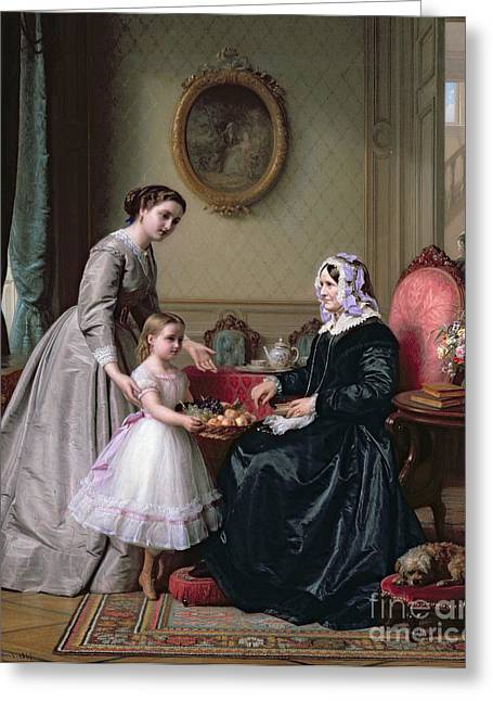 Grandmother Greeting Cards - Interior at The Chestnuts Wimbledon Grandmothers birthday Greeting Card by J L Dyckmans