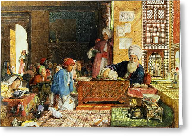 Desk Greeting Cards - Interior of a School - Cairo Greeting Card by John Frederick Lewis