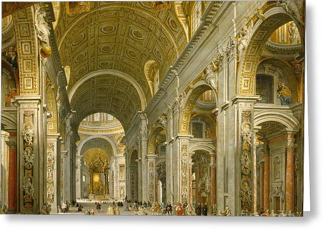 Christianity Paintings Greeting Cards - Interior of St. Peters - Rome Greeting Card by Giovanni Paolo Panini
