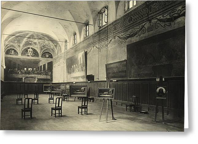 Interior of the dining hall of the Church of Santa Maria delle Grazie Milan Greeting Card by Alinari