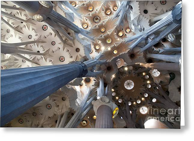 Olia Saunders Greeting Cards - Interior of the Gaudis Sagrada Familia in Barcelona Greeting Card by Design Remix