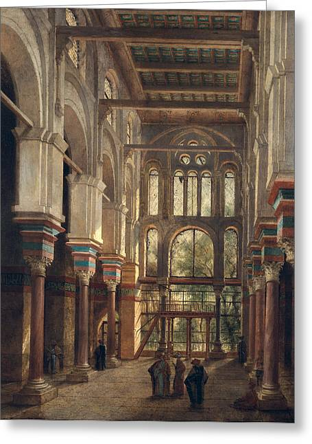 Worship God Paintings Greeting Cards - Interior of the Mosque of El Mooristan in Cairo Greeting Card by Adrien Dauzats