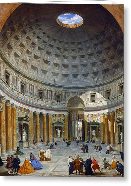 Interior Of The Pantheon Greeting Card by Giovanni Paolo Panini