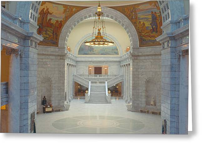 Seat Of Power Greeting Cards - Interior Of Utah State Capitol, Salt Greeting Card by Panoramic Images