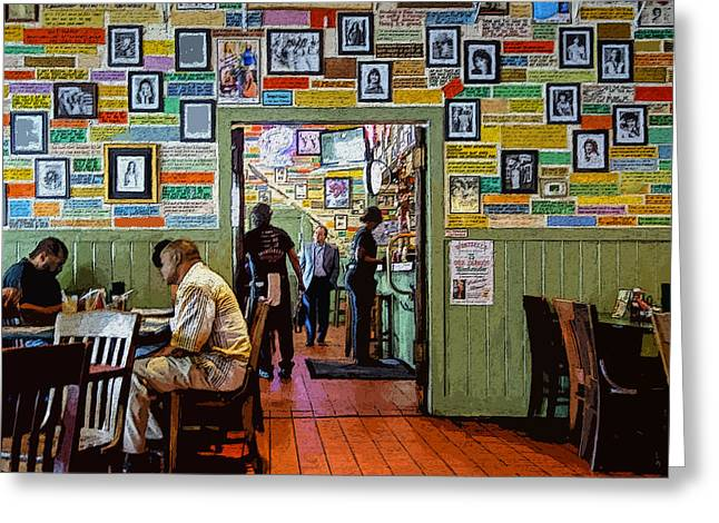 Old Digital Art Greeting Cards - Interior Old Building - Wintzells Oyster House  Greeting Card by Rebecca Korpita