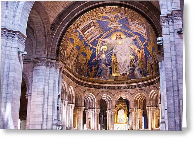 Interior Sacre Coeur Basilica Paris France Greeting Card by Jon Berghoff