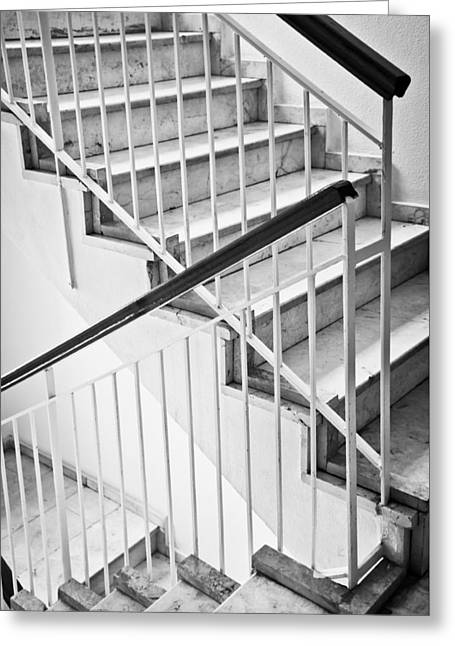 Bannister Greeting Cards - Interior stairs Greeting Card by Tom Gowanlock