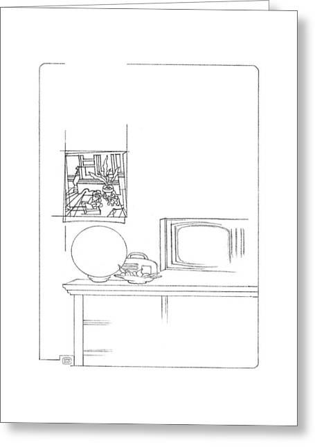 Interior Still Life Drawings Greeting Cards - Interior with Interior Greeting Card by Stan  Magnan