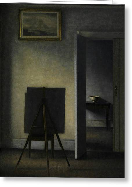 Interior With The Artist's Easel Greeting Card by Vilhelm Hammershoi