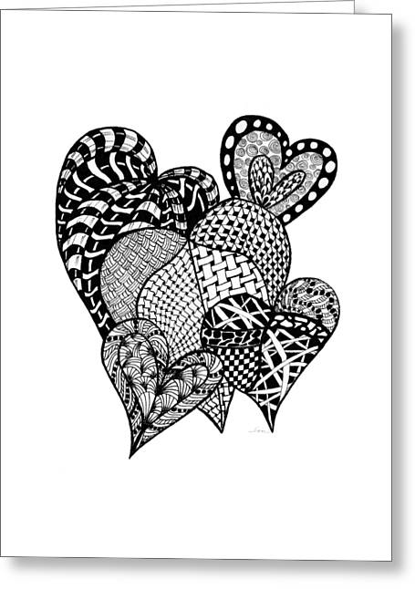 Dots And Lines Paintings Greeting Cards - Interlocking Hearts Greeting Card by Nan Wright