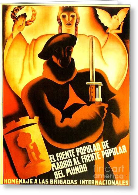 Civil Liberties Paintings Greeting Cards - International Brigade Homage Greeting Card by Reproduction