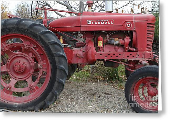 Backroads Greeting Cards - International Harvester McCormick Farmall Farm Tractor . 7D10323 Greeting Card by Wingsdomain Art and Photography